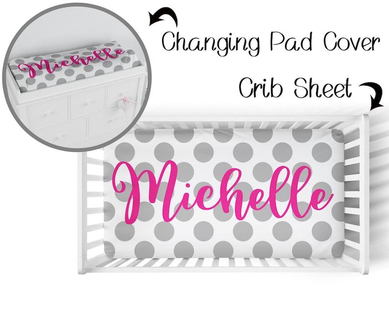 Custom Baby Decor Changing Pad Cover polka dots Baby Bedding Personalized Crib Sheet