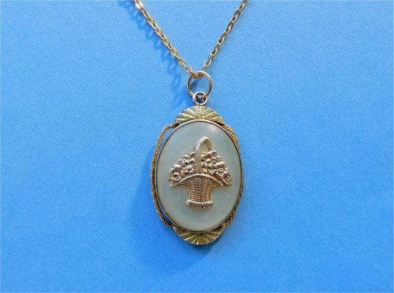 Vintage Locket Mother of Pearl Flower Basket Gold… - image 1