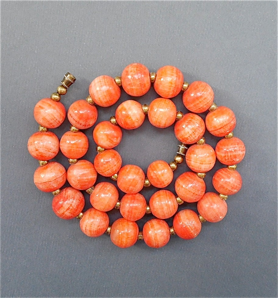 Coral Orange Colored Mexican Banded Onyx Vintage Beads