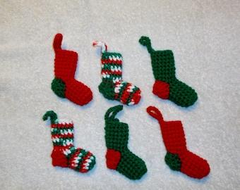 Teeny Tiny Christmas Stocking Ornaments Set of 6
