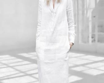 016fc533b5f WHITE LINEN DRESS with sleeves