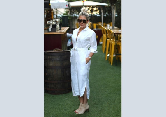 White linen button down womens t shirt dress midi / Custom | Etsy