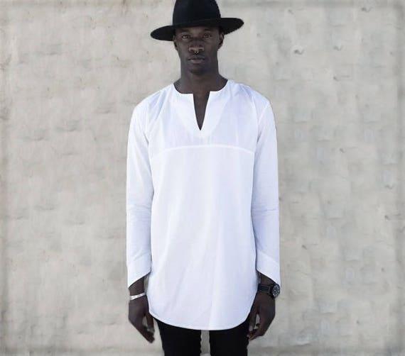 LINEN TUNIC men White tunic Long shirt men Linen shirt long  85e140109