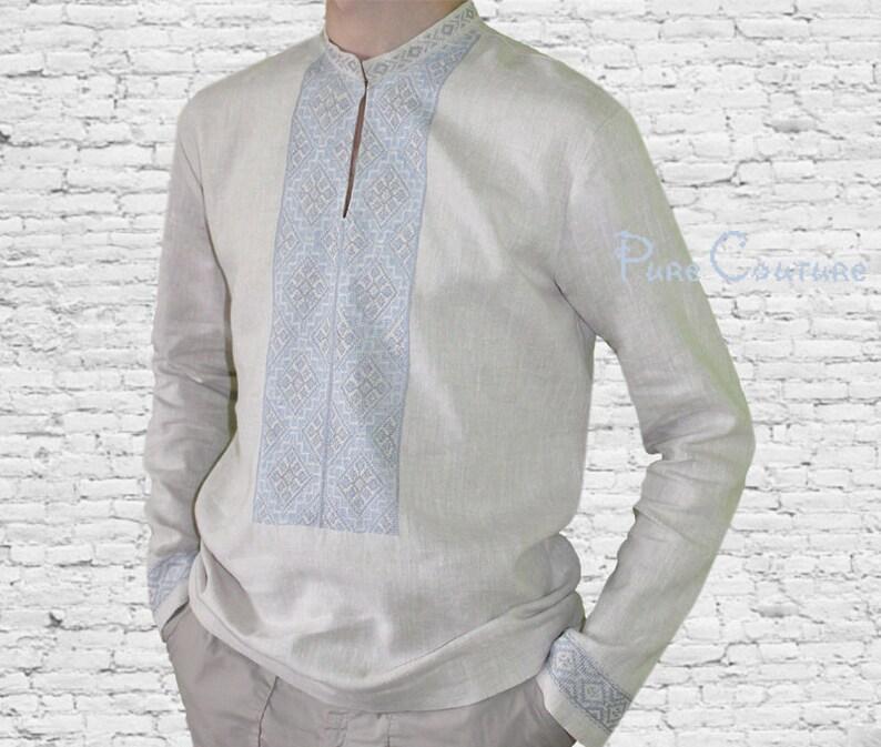 0845ae4be MAN LINEN SHIRT Men embroidered shirt Long sleeve linen