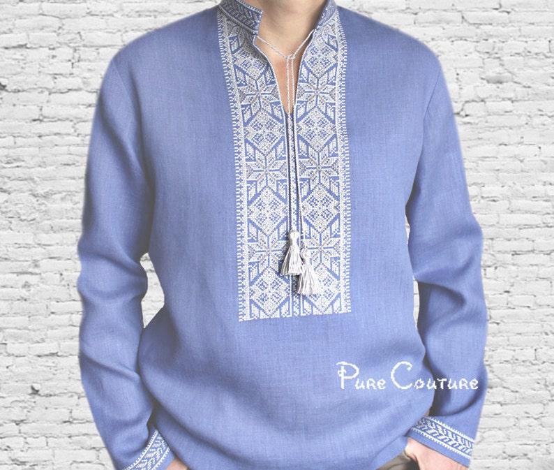 17c5e3a4 Linen shirt men Embroidered shirt Mens designer clothing | Etsy