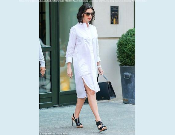 Womens natural cotton white long sleeve midi dress / White | Etsy