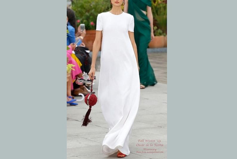 9b35629bad68 WHITE FLOWY DRESS Short sleeve wool maxi dress White dress | Etsy