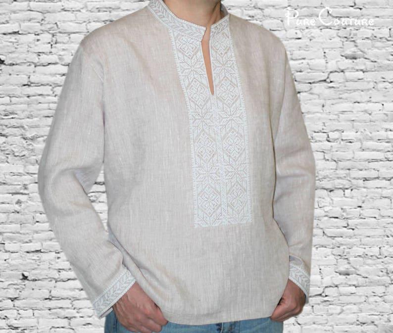 a972184a Linen shirt men Customized shirt Designer t shirt High collar | Etsy