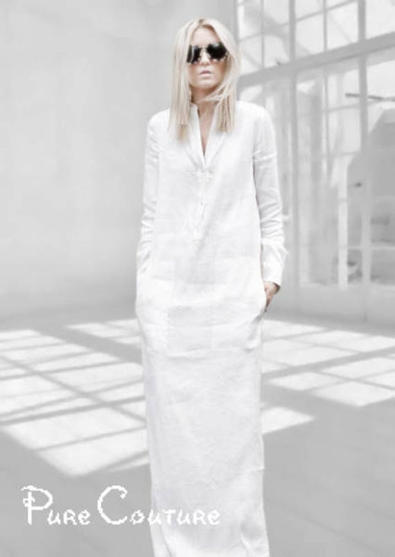d700b1c6243 WHITE LINEN DRESS with sleeves Long white dress Long linen
