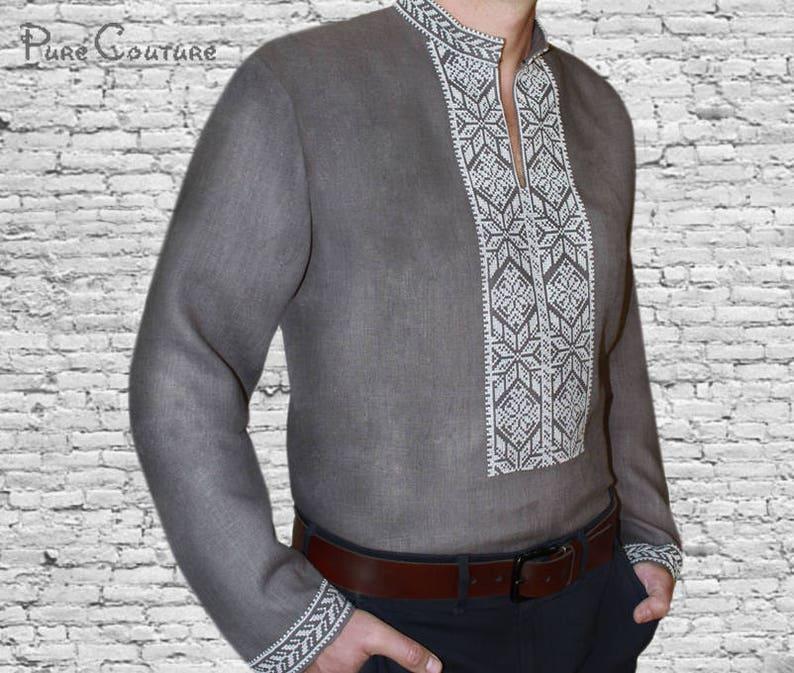 0b8e9dd6 Embroidered shirts for men Ukrainian vyshyvanka White on gray | Etsy