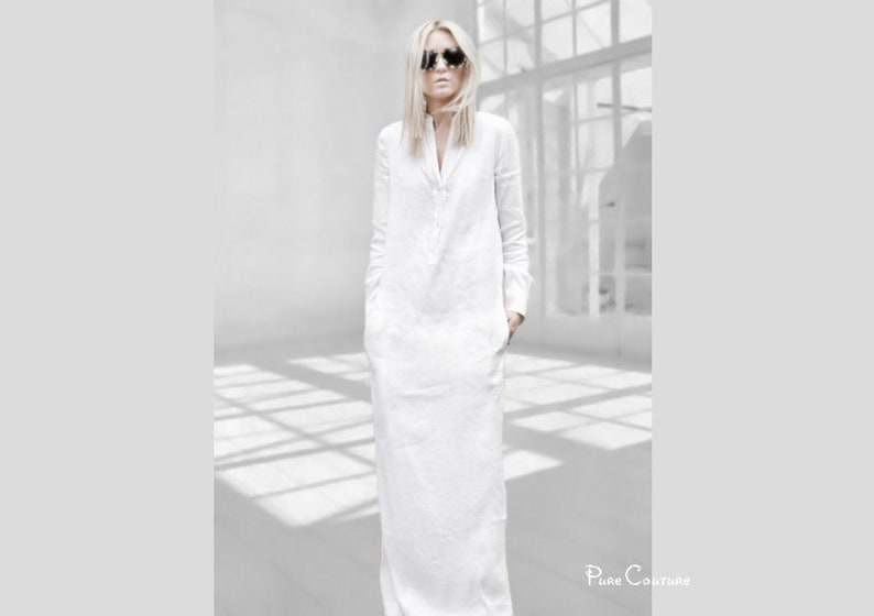 08eceda4c37a WHITE LINEN DRESS with sleeves Kaftan maxi dress Long white | Etsy