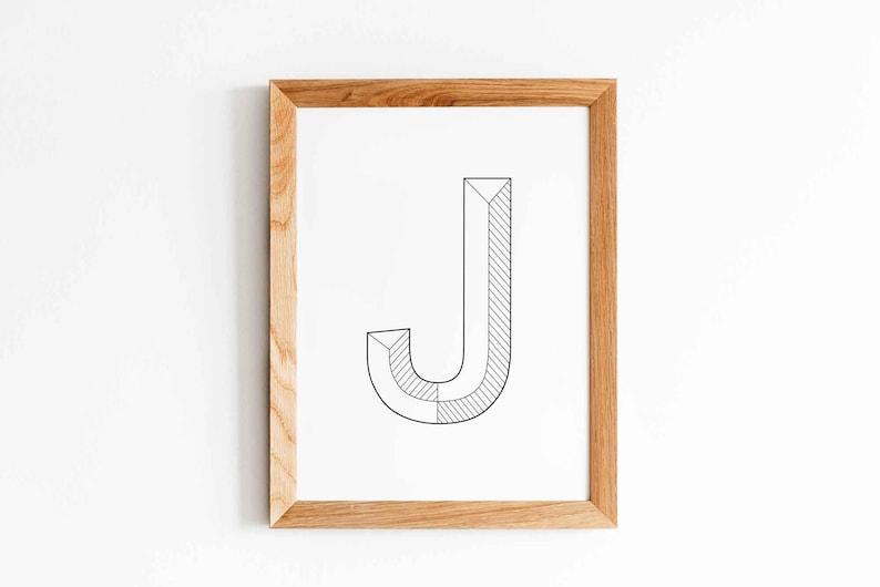 Typography Print Letter J Instant Download Digital Print image 0