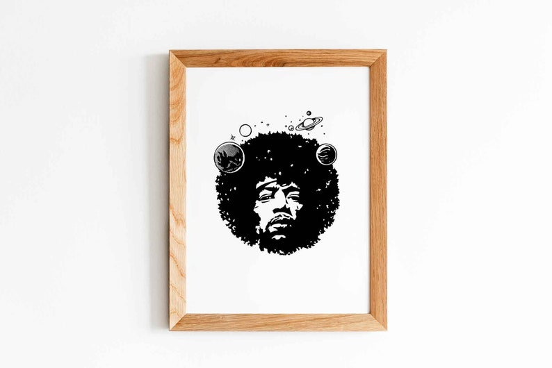 Jimi Hendrix Poster Instant Download Hendrix Print Music image 0