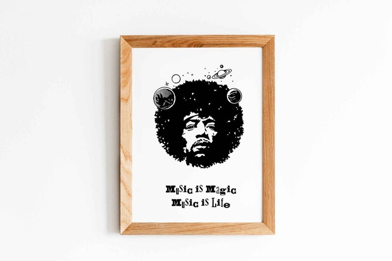Jimi Hendrix Poster Quote Instant Download Hendrix Print image 0