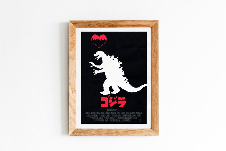 Vintage Japanese 1954 Godzilla Cinema Movie Poster Canvas Print A0 A1 A2 A3 A4