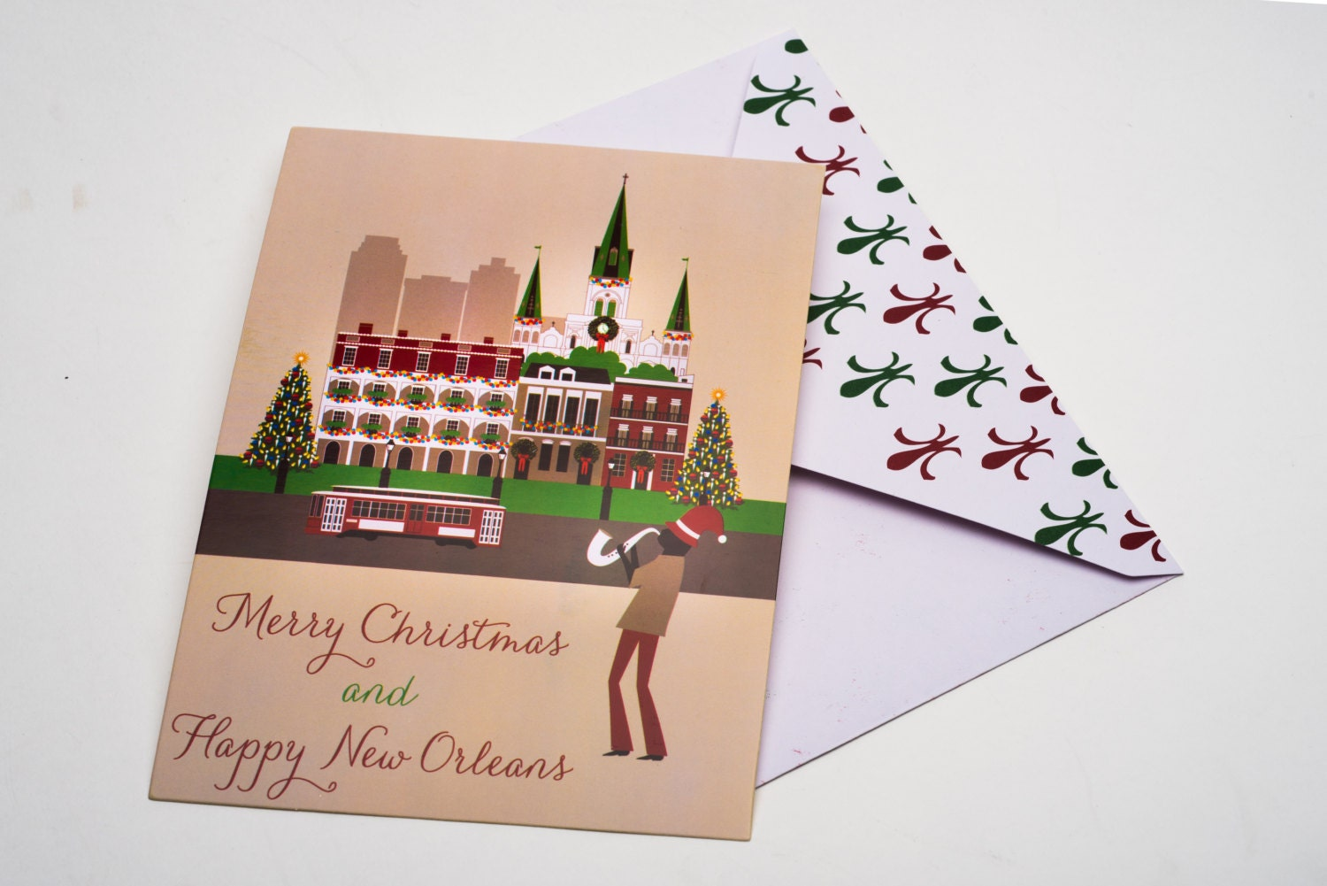 Merry Christmas and Happy New Orleans Post card style Holiday | Etsy