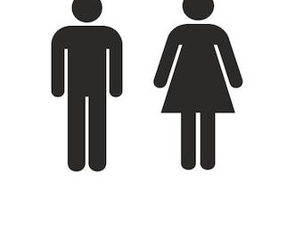 Delicieux More Colors. Men Women Restroom Vinyl Decal Sticker Sign ...