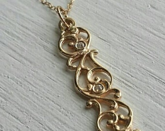 Gold pendant, gold necklace, paisley gold and diamonds necklace, paisley diamond pendant, gold and diamonds