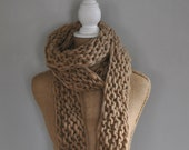 Bulky, Wrapping, Scarf, Handspun Yarn, Handknit Knit Scarf, Wool, Soft, Beige, Natural Yospun