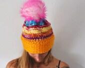 Beanie, handknit, handmade, knit beanie, snow hat, winter, warm, wool, yarn, ski hat, pointy beanie, Pom Pom, soft beanie