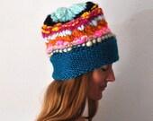 Handknit Beanie, handmade, knit beanie, snow hat, winter, warm, wool, yarn, ski hat, pointy beanie, soft beanie. ski cap
