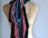 Bulky, Wrapping, Scarf, Handspun Yarn, Handknit Knit Scarf, Wool, Soft, Flurry of color