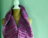 Bulky, Wide, Draped, Wrapping, Cowl, Pink, Wool, Fuschia, Purple, Handspun Yarn, Handknit Knit Scarf, Wool, Soft, Yospun