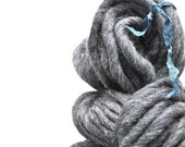Handspun, Hand dyed, Yarn, Grey, Gray, Thick and Thin, Big, Bulky, Wool, Yarn, Yospun, Knitting, Crochet