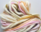 Handspun, Hand dyed, Yarn, Cream, Pastel, Pink, Peach, Moss Green, Thick and Thin, Big, Bulky, Wool, Yarn, Yospun, Knitting, Crochet
