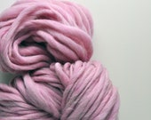 Handspun, Hand dyed, Yarn, Pink, Baby Pink, Thick and Thin, Big, Bulky, Wool, Yarn, Yospun, Knitting, Crochet