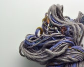 Handspun, Hand dyed, Yarn, Grey, Dark Grey, Gray, Blue, Mixed Color, Thick and Thin, Big, Bulky, Wool, Yarn, Yospun, Knitting, Crochet