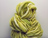 Handspun, Hand dyed, Yarn, Lime Green, Light Green, Cream, Thick and Thin, Big, Bulky, Wool, Yarn, Yospun, Knitting, Crochet
