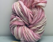 Handspun, Hand dyed, Yarn, Pink, White, Cream, Thick and Thin, Big, Bulky, Wool, Yarn, Yospun, Knitting, Crochet