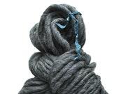 Handspun, Hand dyed, Yarn, Grey, Gray, Thick and Thin, Big, Bulky, Wool, Yarn, Yospun, Knitting, Crochet