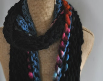 Bulky, Wrapping, Scarf, Handspun Yarn, Handknit Knit Scarf, Wool, Soft, Black and Rainbow