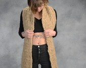 Scarf, Bulky, Wide, Big, Knit, Beige, Neutral, Natural Color, Wool, Tan, Yospun, Winter, Warm