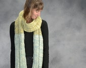 Big, Bulky, Handknit, Wool, Wrapping Scarf, Blue, Green, Long