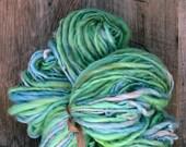 Handspun art yarn, pretty, bulky, wool, knitting supplies, weaving, crochet, Thick n Thin, Buttery Soft BFL