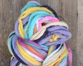 Handspun yarn, bulky, soft, wool, knitting supplies, 100 yards, weaving, crochet, yospun, teal, navy, orange, light blue, cream
