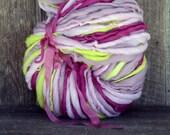 Handspun yarn, pretty, bulky, soft, wool, knitting supplies, weaving, crochet, Thick n Thin, Bright Yellow, Fuchsia, Pink, Mauve