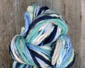 Handspun yarn, thick n thin, bulky, soft, green, blue, navy, cream, grey, wool, knitting supplies, weaving, crochet, yospun