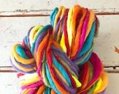 Handspun yarn, bulky, soft, wool, knitting supplies, 100 yards, weaving, crochet, yospun, Rainbow color