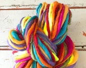 Handspun yarn, bulky, soft, wool, knitting supplies, weaving, crochet, yospun, Rainbow color