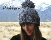 Knitting Pattern Beanie Pom Bulky Chunky Big Yarn