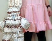 Big Custom Knit Stuffed Bunny Floppy Rustic Soft Toy Decoration Made from Handspun Yarn