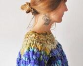 Hand knit, Big Bulky Sweater, Chunky, Wild, warm, One of A kind Sweater, knit sweater, Handmade,  USA Made, Handmade Sweater