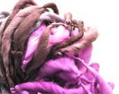 Handspun, Hand dyed, Yarn, Purple, Mauve, Fuchsia, Thick and Thin, Big, Bulky, Wool, Yarn, Yospun, Knitting, Crochet