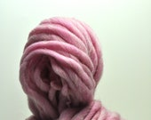 Handspun, Hand dyed, Yarn, Soft Pink, Powder Pink, Thick and Thin, Big, Bulky, Wool, Yarn, Yospun, Knitting, Crochet
