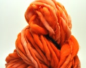 Handspun, Hand dyed, Yarn, Orange, Thick and Thin, Big, Bulky, Wool, Yarn, Yospun, Knitting, Crochet