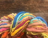 Hand spun, bulky, yarn, soft, wool, hand dyed, knitting, crochet, weaving, fiber arts, big yarn, yospun, earthy color, art yarn